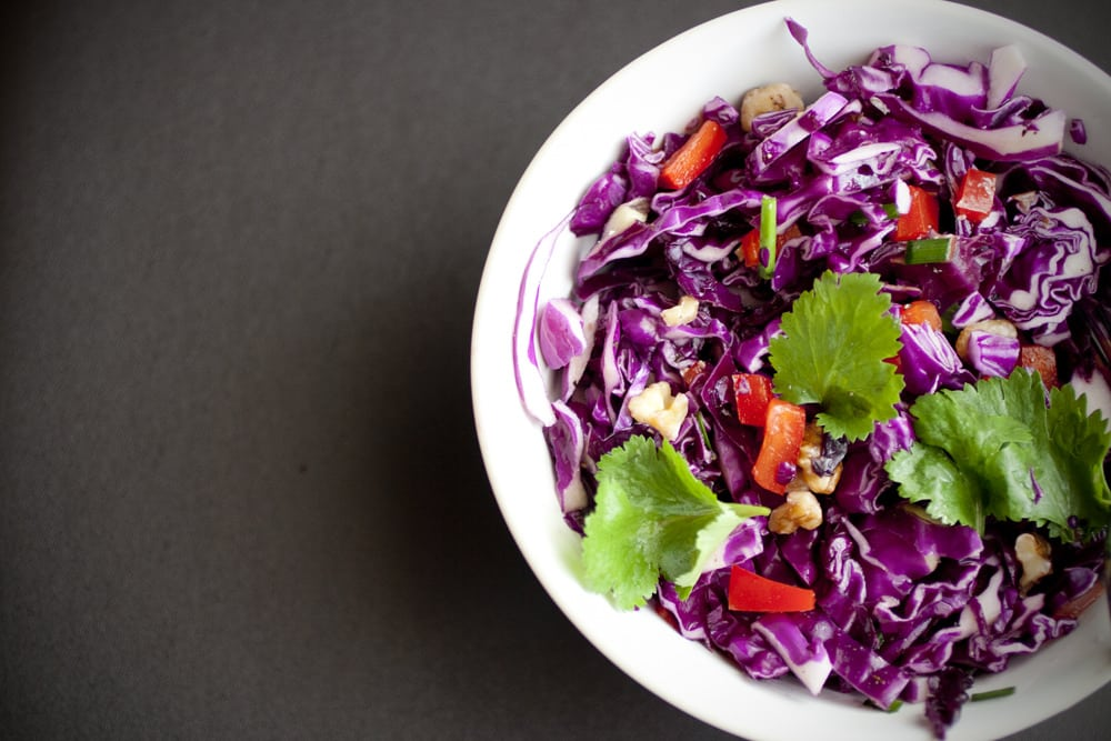 Raw Red Cabbage Slaw
